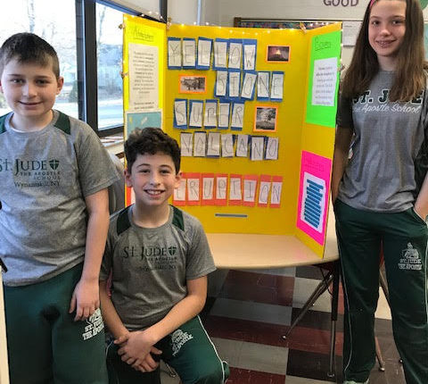 6th Graders with Poster