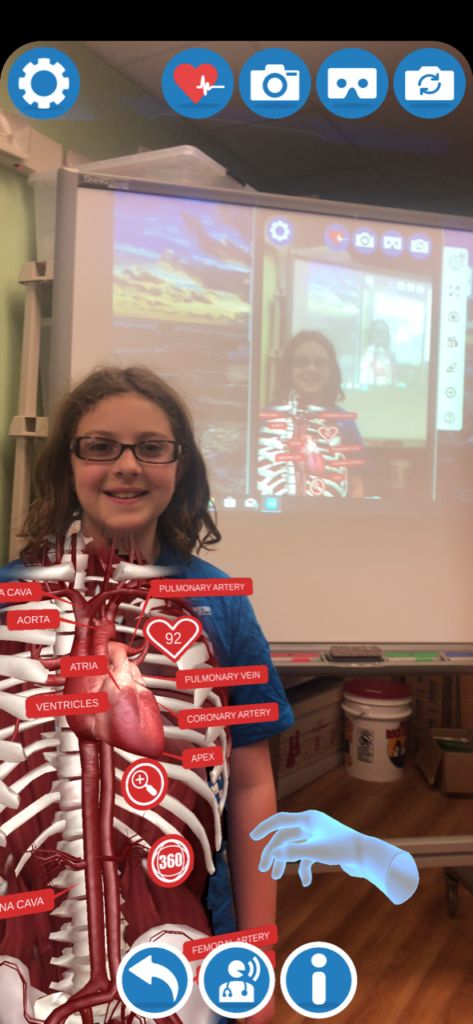 Elementary Students view inside the body with Augmented Reality